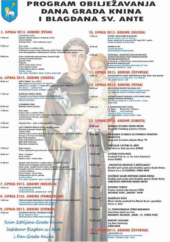 Program obilježavanja Dana grada Knina i blagdana sv. Ante