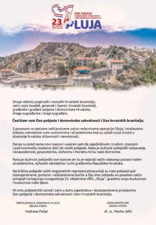 Čestitka povodom Dana pobjede i domovinske zahvalnosti i Dana hrvatskih branitelja
